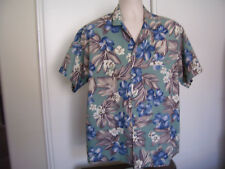 VTG Barefoot in Paradise Men's Floral Hawaiian Shirt Size XL Green Blue Hibiscus