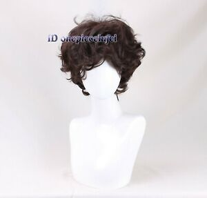 Men's Short Dark Brown Natural Curly Handsome cosplay wig + a wig cap