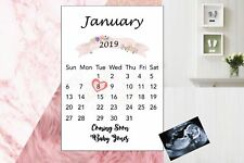 Pregnancy Announcement Calendar Due Date Personalised Size A4 Proff. Printed