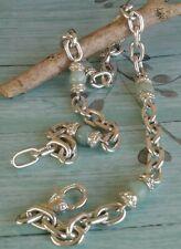 "Judith Ripka Green Jade Station Link Necklace Heavy Sterling Silver 18"" L"