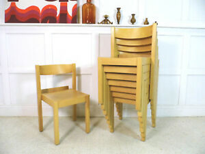 8 x Swedish S312 Stacking Church dining chairs Axel Larsson by Balzar Beskow 80s