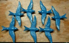 "7 BRASS BLUE BIRDS WITH 8"" WINGSPAN"