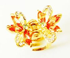 USA Hair Clip using Swarovski Crystal PIN Small Claw Yellow Gold Butterfly wing