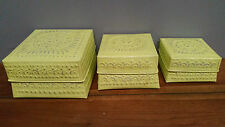 Bali Pressed Aluminium Storage Multi Purpose Box Case Holder Lime Set of 3