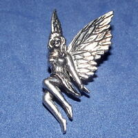 Lovely Sitting Flying Fairy Pewter Pin Brooch