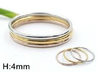 Knuckle Midi Rose Gold Silver Stainless Steel 3 Ring Set Sm Size 2 3 4 5 D F H J