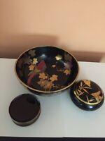 Vintage Decorative Laquer Japanese Bowl, Coasters and Trinket Box Lot