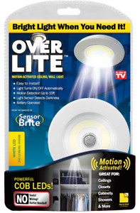 Over Lite As Seen On TV 4 in x 4 in Motion Activated Ceiling/Wall Light -Battery