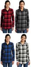 Port Authority Ladies Plaid Flannel Tunic Women's Button Down Long Sleeve Shirt