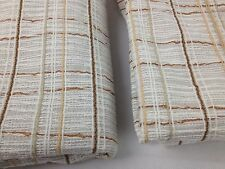 "Vintage 24X52"" Mid Century Beige Cream Basket Weave Burlap Hemp Curtains Drapes"