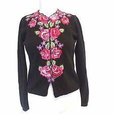 Keita Maruyama Black Wool Angora Floral Embroidered Cardigan Sweater Sz 2