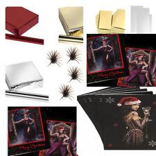 "NEW~GOTHIC XMAS SET,CARDS 4""X4"" X 20+4M RED,GOLD FOIL X 3+GOTH TAGSX 12 & BOWS 4"