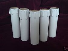 8x White Chandelier Plain Candle Sleeve Light Bulb Tube Covers 85mm x 23mm