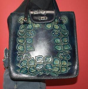 Vintage Hand Tooled Genuine Dark Teal Blue Leather Tote Purse Shopper Hand Bag