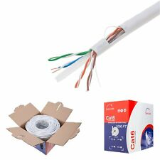 CAT6 1000FT UTP Solid 23 AWG Network Ethernet Cable Bulk Wire 550MHz Lan White