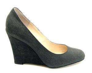 Tony Bianco Black Slip On Wedges Leather Snake Skin Shoes Size 7