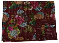 Maroon Indian Vintage Cotton Bedspread Throw Twin Kantha Quilt Decor Blanket
