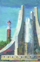 PRINT Purdue University Engineering Fountain Campus Gift Painting Wall Art 17""