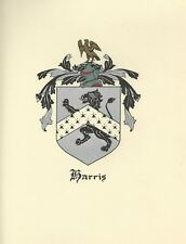 Great Coat of Arms Harris Crest genealogy, would look great framed!