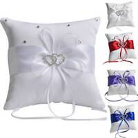 Double Hearts Diamond Engagement Bridal Wedding Ring Pillow Cushion Bearer Decor