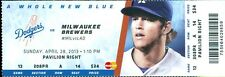 2013 Dodgers vs Brewers Ticket: Clayton Kershaw win/Carl Crawford 2 Home Runs