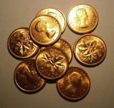 """1964 Choice Uncirculated Canada One Cent Lot of 10 Coins """"We Combine Shipping"""""""