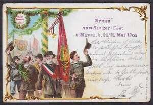 Tolle AK Mayen Gruß vom Sänger Fest 1900, Festzug, Fahnen, gel.