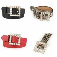 Leather Belt Pearl Square Buckle Waistband Wide Elegant Belt Women Dress