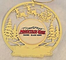 "Goldtone Cut-Out Metal 3"" Silhouette Deer & Santa Sleigh Ornament Figurine"