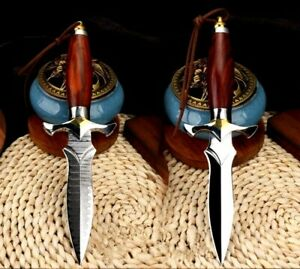 Spear Point Knife Hunting Tactical Combat VG10 Damascus M390 Steel Collectible S