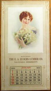 Natchez, MS 1922 Advertising Calendar/12x21 Poster: Euochs Lumber - Mississippi