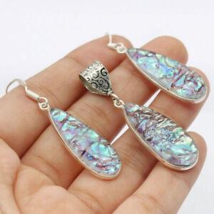 """Opal Tripplet 925 Silver Plated Handmade  Pendant & Earring Set 2"""" Ethnic Gift"""