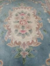 Hand Made Blue Wool Oriental Rug Flowers 4x6 Cotton Fring Heavy Backing Great!!
