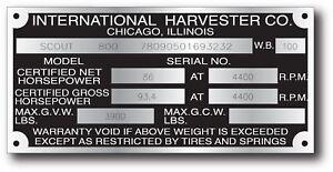 NEW REPOP INTERNATIONAL HARVESTER SCOUT TRAVELALL TRUCK DATA PLATE ENGRAVED