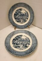 "2 Vintage Blue & White Plates 6 1/4"" Dining Bread/Dessert Plates Kitchen Home"