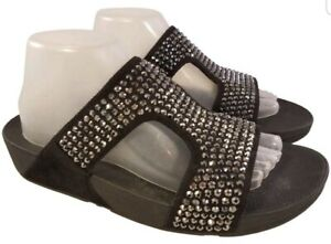 FITFLOP BLACK SUEDE WITH GLASS SEQUIN STONES STUDS SLIDE SANDALS SIZE 42/10 EUC