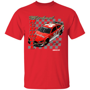 #34Michael McDowell Checkered Flag FR8 Throwback 1-Spot Graphic Red T-Shirt S...