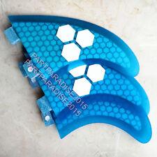 FCS G5 surf fins surfboard fiberglass honey comb Tri Set Thruster blue new