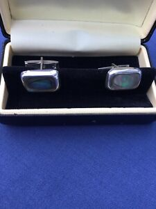 Vintage Abalone Shell Mexican STERLING SILVER cufflinks Taxco Hallmark Oblong