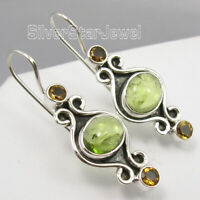 Mix Stones Dangle Earrings 925 Pure Silver Vintage Style Earrings 1 1/2 inches