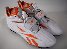 REEBOK NFL EQUIPMENT Sz 15 Pro Full Blitz Football Cleat Shoe White Orange New