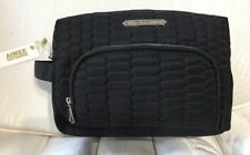 Aimee Kestenberg Cosmetic Bag Isabela Large Black Python Quilted Silver Zip