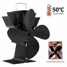 Wood Stove Fan Heat Powered Quiet Kinetic Energy with 4 Blades Safe Distribution