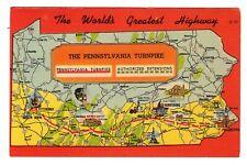 VTG Postcard Pennsylvania PA Turnpike World's Greatest Highway Map View Linen