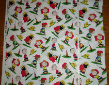 New Camp Peanuts Characters Charlie Brown Snoopy -Large Print Cotton Fabric  bty
