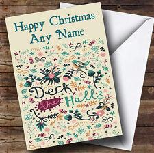 Deck The Halls Navidad tarjeta de saludos personalizadas