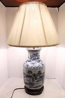 "Beautiful Blue and White Porcelain Vase Lamp Table Lamp Blue Willow 33""H"