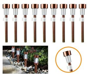 4x Solar Power COPPER Look Stake Lights Patio Outdoor Garden Lawn Path Lamp