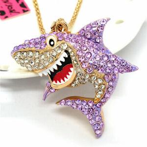 Purple Rhinestone Cartoon Shark Pendant Betsey Johnson Sweater Chain Necklac