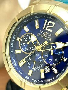Invicta Men's Watch 21465 Specialty Chronograph Gold Blue Dial Stainless Steel